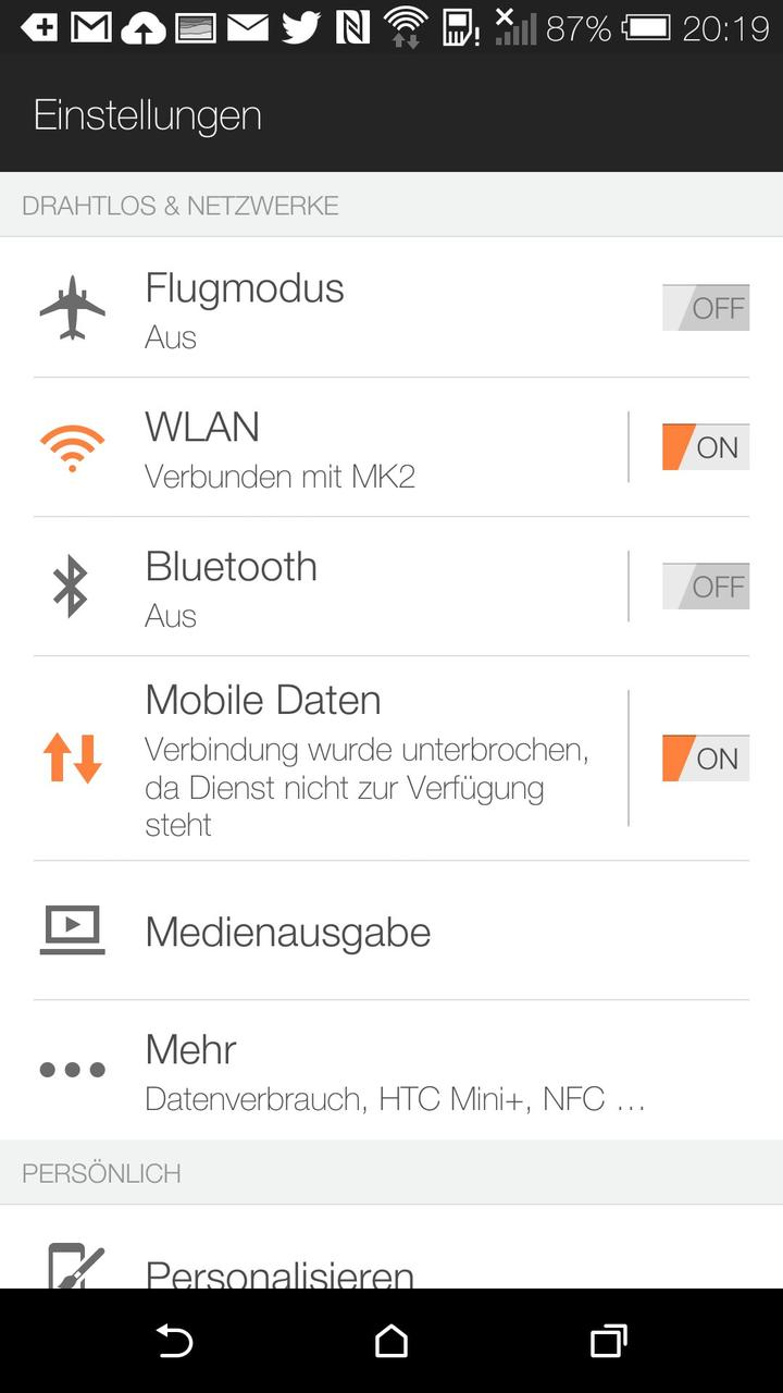 HTC One M8 Settings