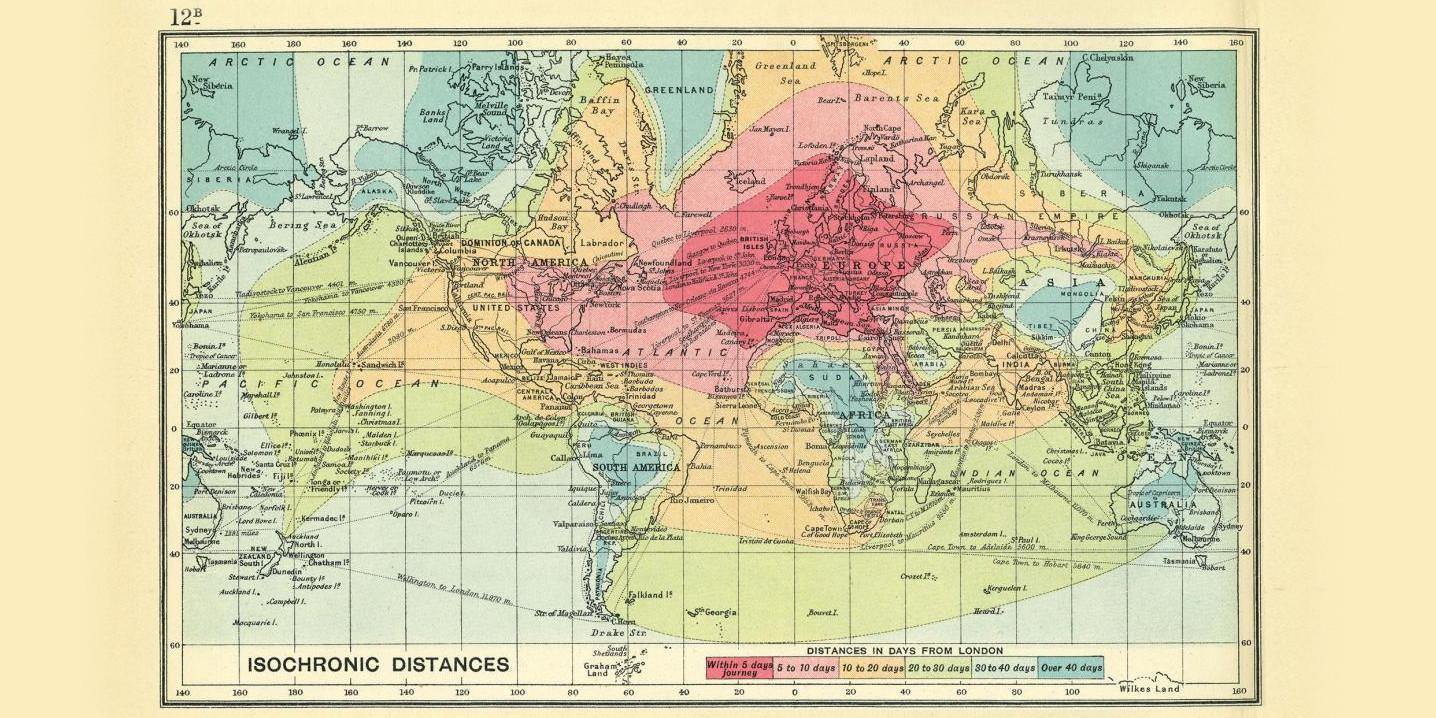 Gute Karten Reisezeiten vor 100 Jahren alt