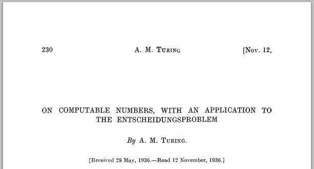 Alan Turing On Computable Numbers Titelblatt
