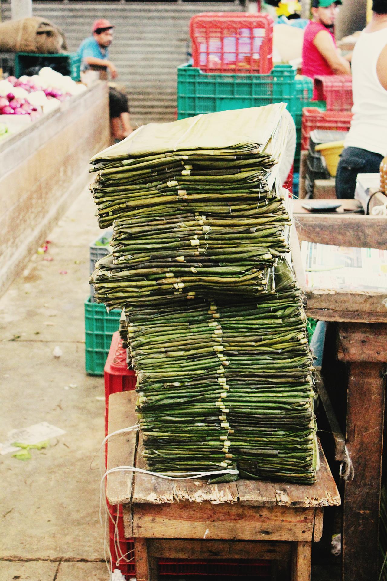 Mexiko Merida Markt Bananenblätter