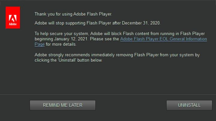 adobe flash outdated leseliste