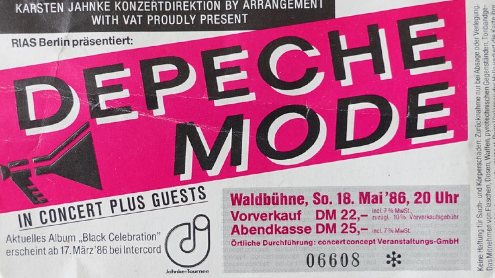 Konzerterinnerungen - Ticket Depeche Mode Berlin Waldbühne 1986