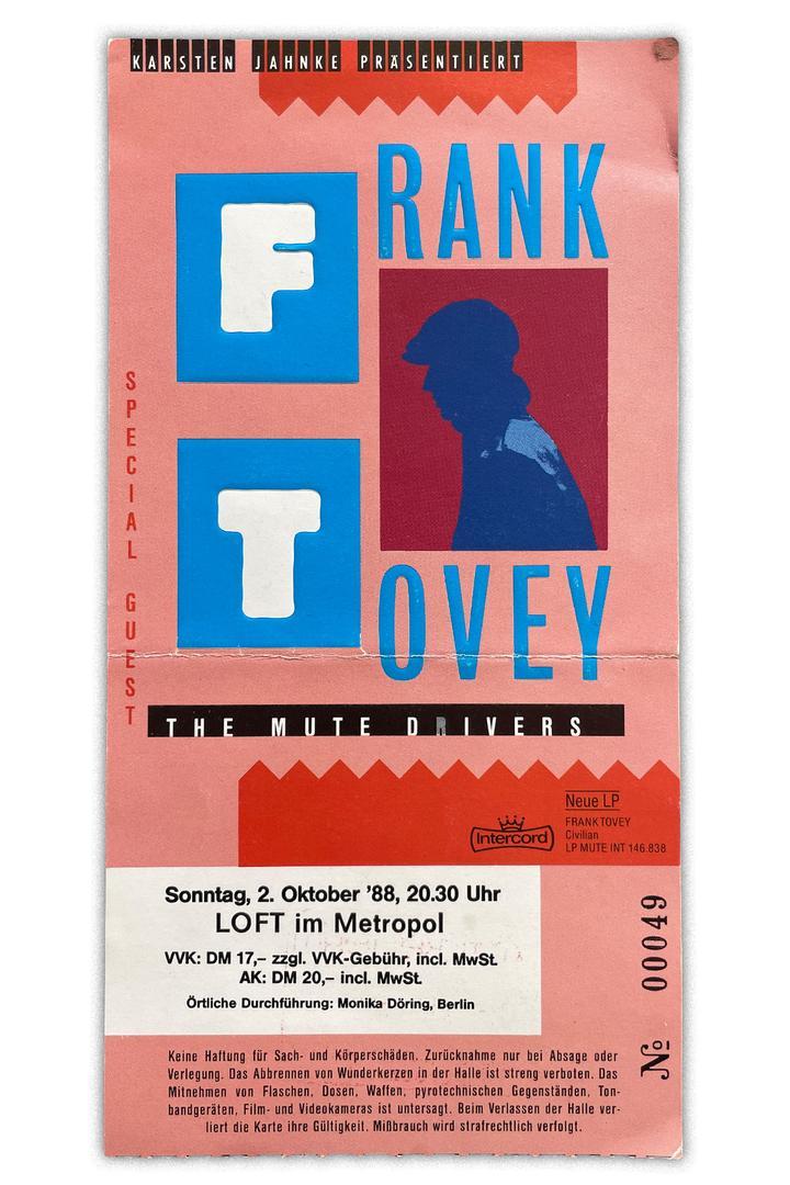 Konzerterinnerungen -  Frank Tovey - Ticket