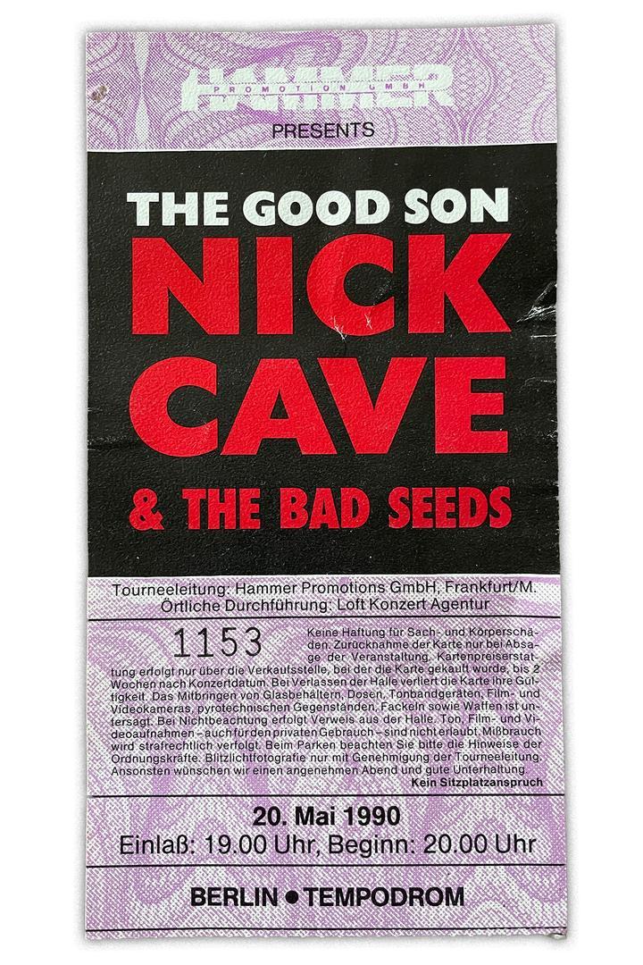 Konzerterinnerungen Nick Cave Berlin 1990 Eintrittskarte in der Gesamtansischt